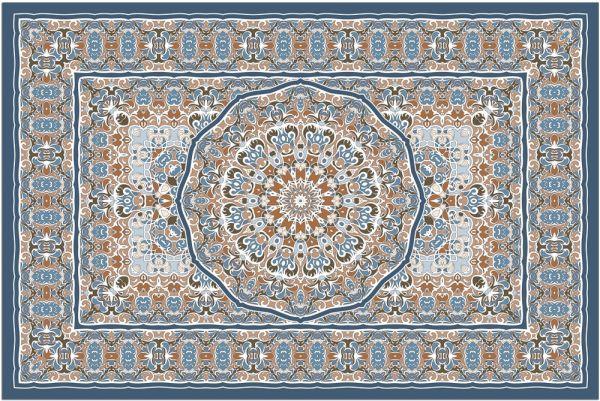 Fußmatte Fußabstreifer DECOR Ornamente Perser blau orange bunt waschbar 40x60 cm