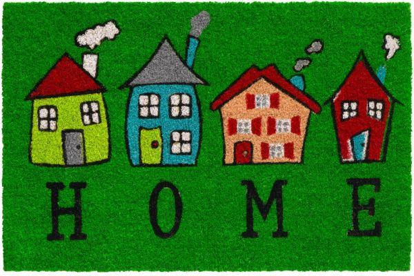 Fußmatte Kokosmatte Indoor bunt bedruckt 4 Häuser & Home 1 Stk - 40x60 cm