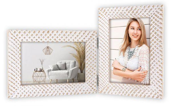 Bilderrahmen Klapprahmen Doppelrahmen Holz weiß für 2 Fotos & Bilder Used Look