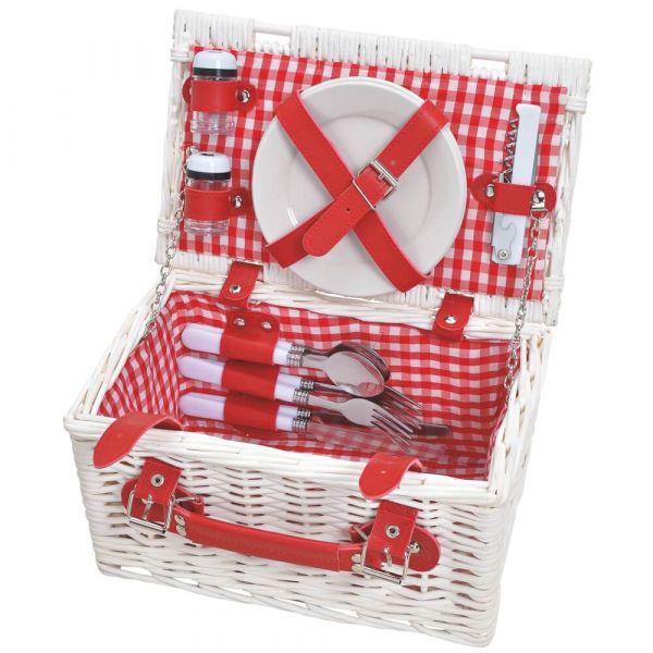 Picknickkorb 2 Personen Weidenkorb weiß / rot 12-tlg inkl Mehrweg Geschirr