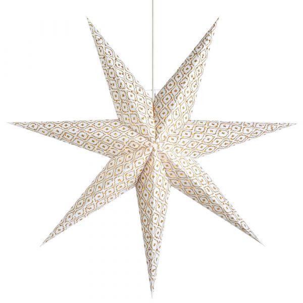 Weihnachtsstern Papier Dekoleuchte Leuchter hängend weiß / gold Ø 45 cm
