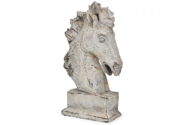 Pferdekopf Kopf Skulptur Antioptik Pferd Figur Zement grau 1 Stk 17x9x25 cm