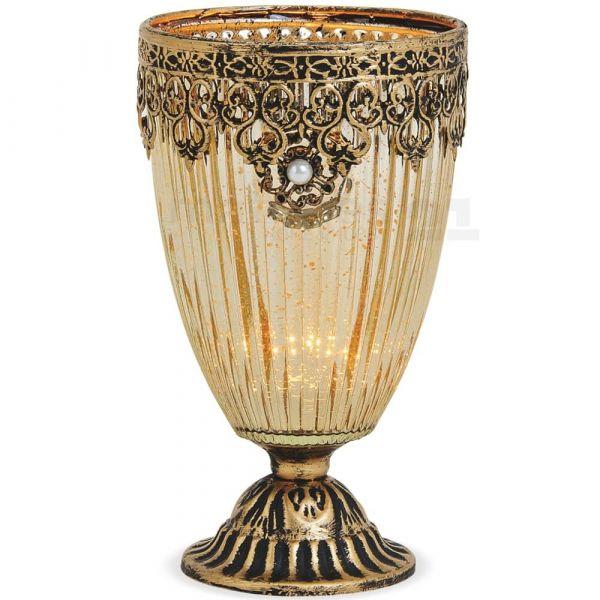 Teelichtglas Windlicht Kelch Orientalisch Marokko & Metalldekor gold antik 18 cm