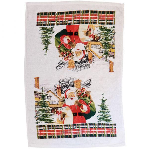 Handtuch Geschirrtuch Motiv Weihnachtsmann nostalgisch gedruckt 1 Stk 38x63 cm