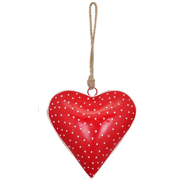 Herz Hänger Metall rot Punkte Schnur Landhaus Country Shabby 1 Stk - Ø 15x5 cm