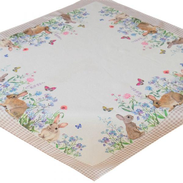 Tischdecke Mitteldecke Osterhasen & Wiese & Karo Bordüre Tischwäsche 85x85 cm
