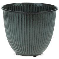Pflanztopf Übertopf Rillenstruktur Metall rund dunkelgrau 1 Stk Ø 22x19 cm 22 cm