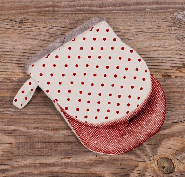 Topfhandschuh Mini Ofenhandschuh Landhaus Premium ROSI gepunktet 12x16 cm