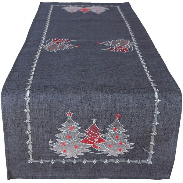 Tischläufer Mitteldecke Weihnachten Stick Tannenbäume rot silber 40x85 cm grau