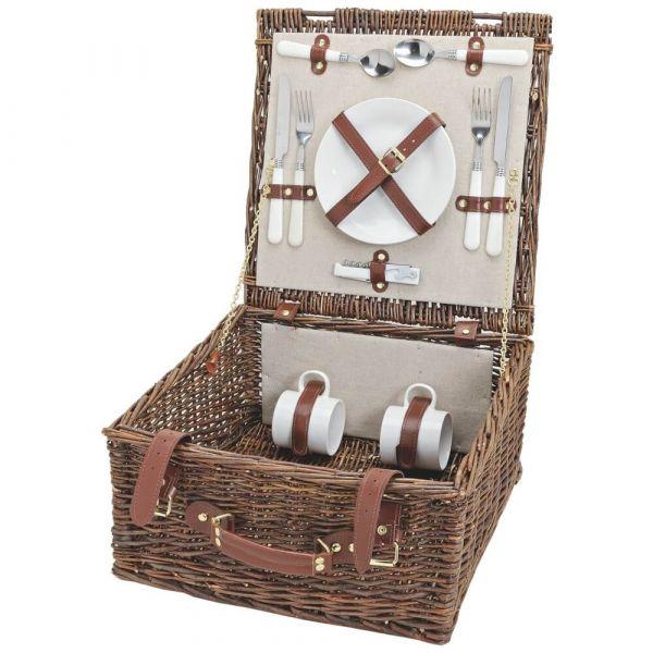 Picknickkorb 2 Personen Weidenkorb braun / beige 12-tlg inkl Mehrweg Geschirr