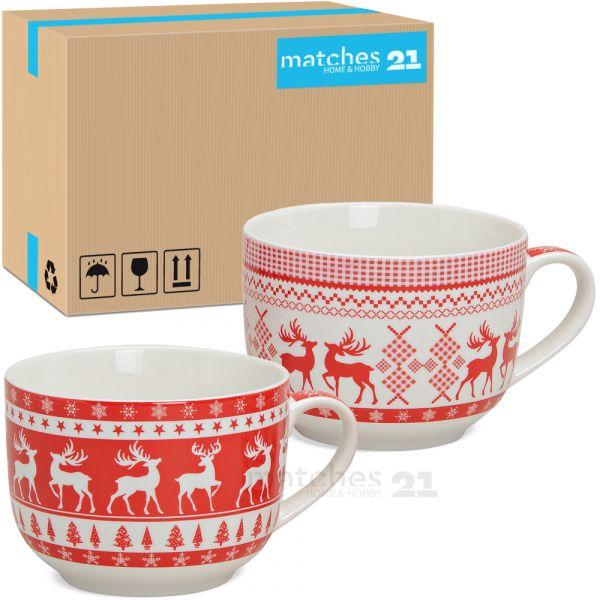 Jumbo XXL Tassen Becher Weihnachtstassen rot weiß Elch Porzellan 24 Stk. 500 ml