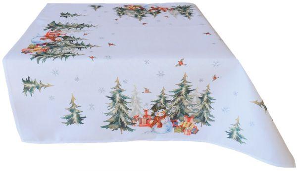Tischdecke Mitteldecke Weihnachten Schneemann & Wald weiß Druck bunt 85x85 cm