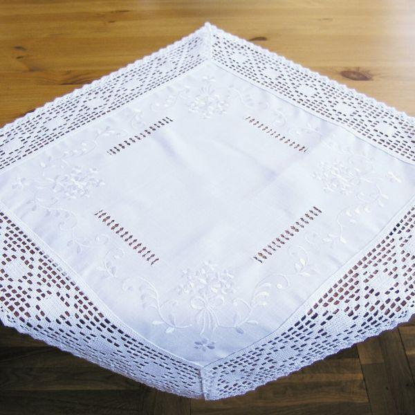 Mitteldecke Tischwäsche weiß edle Stickerei & Häkelspitze Landhausstil 60x60 cm