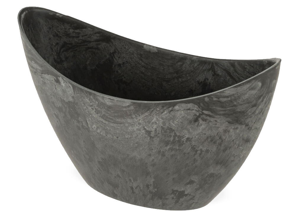 25x14 cm Jardiniere Pflanzschale Blumentopf Silber Glanz oval 1 Stk
