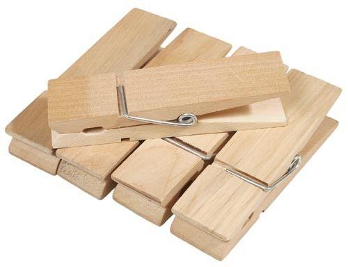 Große Holz Wäscheklammern Naturfarben 10 Stk. Je 3x12 cm