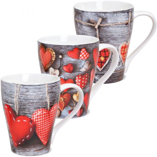 Becher Tassen Kaffeebecher Herzen Holz 3er Set Rot grau Porzellan 11cm / 300ml