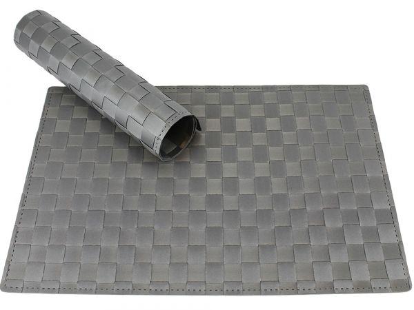 Tischset Platzset MODERN hellgrau grau geflochten Kunststoff 1 Stk. 45x30 cm