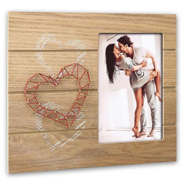 Bilderrahmen & Fadengrafik Herz Holzrahmen Rahmen Naturholz braun 18,5x22,5 cm