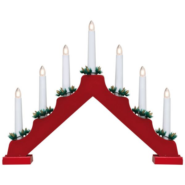 Weihnachtsleuchter Fensterleuchter Holz 7-flammig Batteriebetrieben in rot