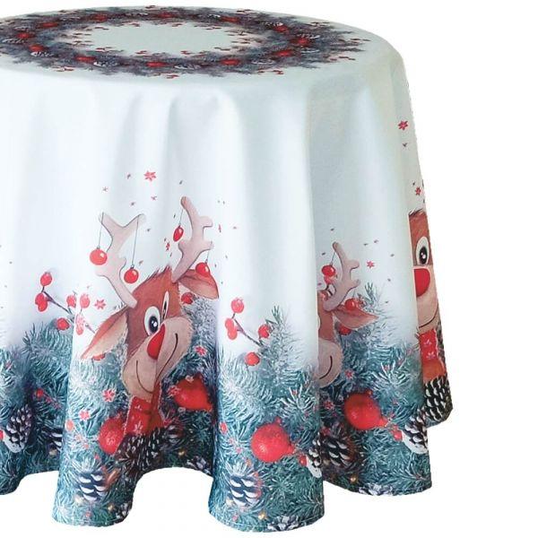 Tischdecke Mitteldecke Weihnachten witziger Elch weiß & Druck bunt Ø 150 cm