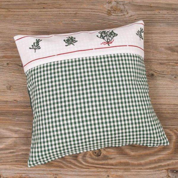Kissenhülle Kissenbezug HILDE Mistel grün weiß Landhaus Premium 30x30 cm