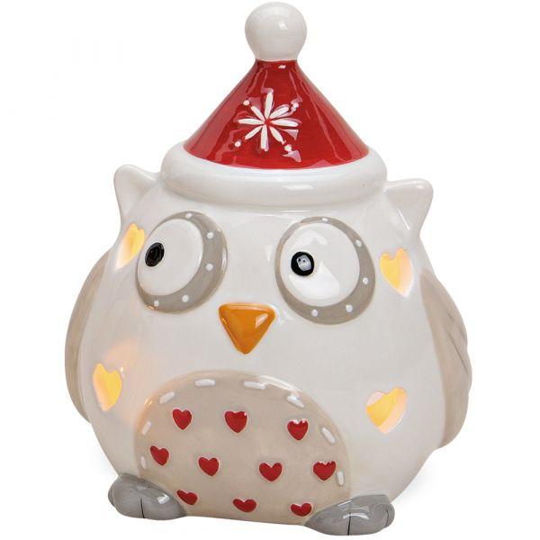 Windlicht Teelichthalter Kerzenhalter Eule Keramik Weihnachten 1 Stk Ø 11x14 cm