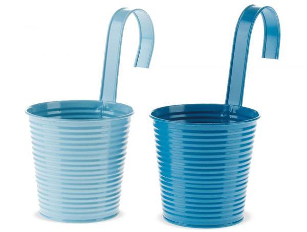 Hänge Blumentöpfe Metall mit Haken Balkon & Terrasse hellblau / blau 2er Ø 11 cm