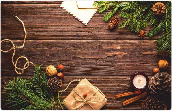 Tischset Platzset MOTIV Weihnachten Geschenke Deko & Holz 1 Stk. Abwaschbar