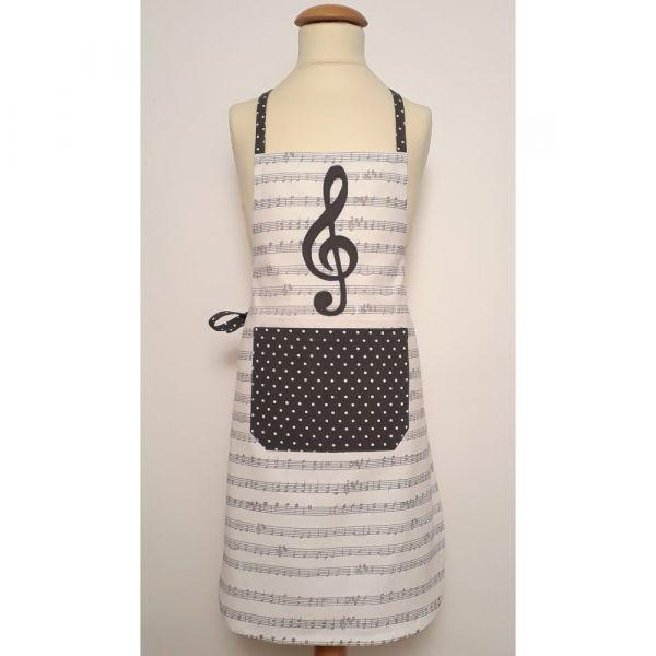 Latzschürze Kinder Schürze KLARA Noten Musik Notenschlüssel weiß grau 1 Stk