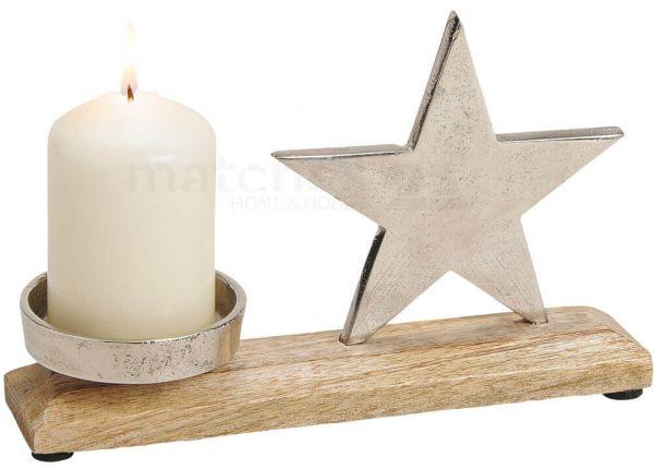 Stern Kerzenständer Deko Holz & Metall Weihnachten silber / braun 1 Stk 23 cm