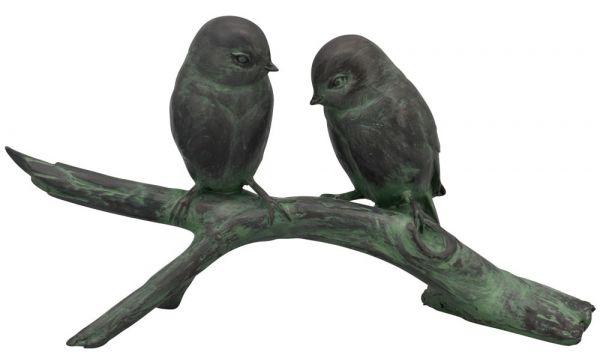 Vögel auf Ast Stamm Baum Spatzen Vogelpaar Gartendeko Figur 1 Stk 31,7x17,6 cm