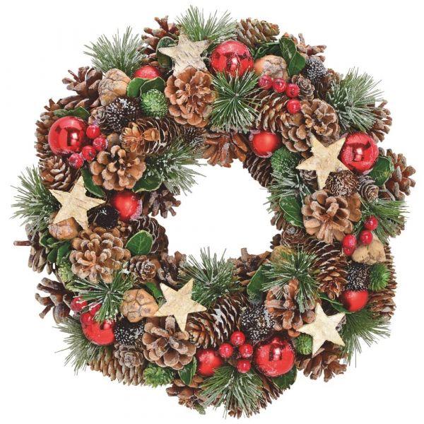 Türkranz Deko Kranz Hängekranz Weihnachten dekoriert Zapfen grün rot Ø 34cm