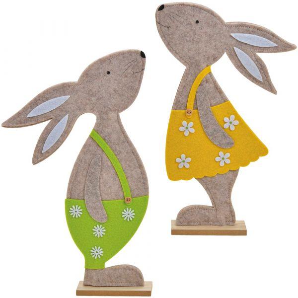 Filzdeko Osterhasen Hasen Holzständer Junge & Mädchen grün & gelb 2er Set 34 cm