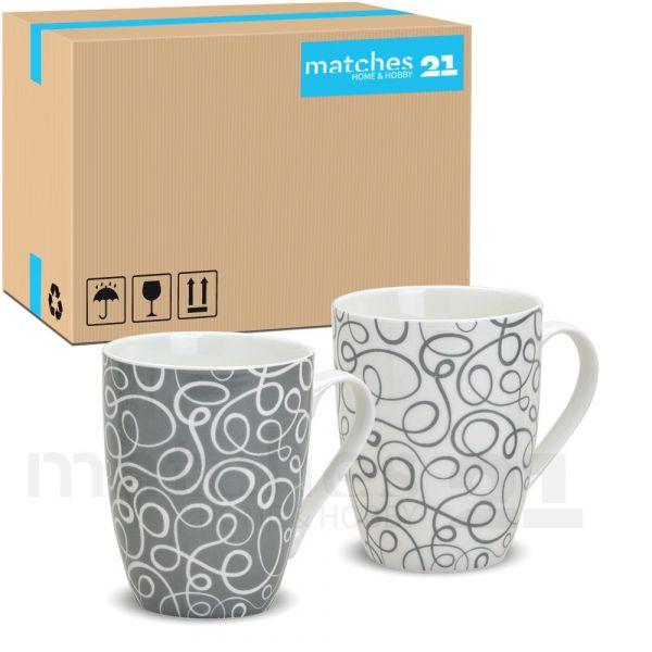 Tassen Becher Retro 48 Stk. Kaffeebecher grau weiß Porzellan 10 cm / 300 ml