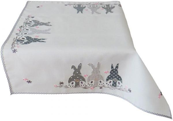 Tischdecke Mitteldecke Osterhasen Applikation Paspelrand Tischwäsche 85x85 cm