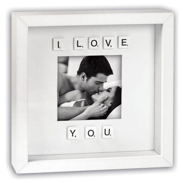 Bilderrahmen Fotokasten weiß Tiefenwirkung Scrabble Buchstaben I love you 26x26 cm