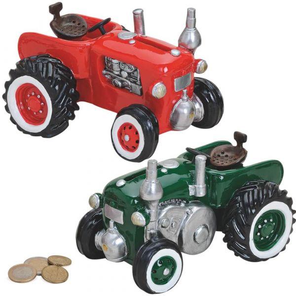 Spardose Traktor / Trecker / Schlepper Sparbüchse rot ODER grün 1 Stk 16x11 cm
