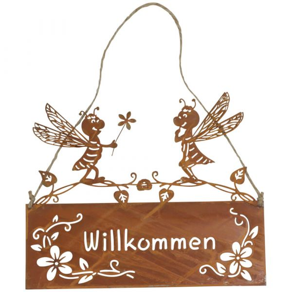 Schilder Willkommen mit Bienen Türschilder Türdekoration Rostoptik 2er 25x19 cm