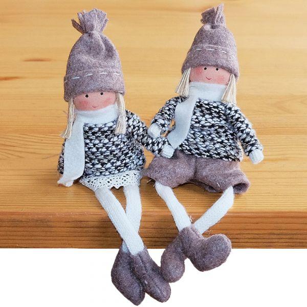 Wichtel Junge & Mädchen Weihnachten süße Deko Figuren 2er Set braun grau 17 cm