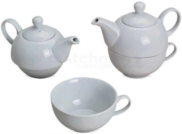 Tea For One Teekannen Geschenk Set weiß Porzellan 3-tlg. Kanne Deckel & Tasse