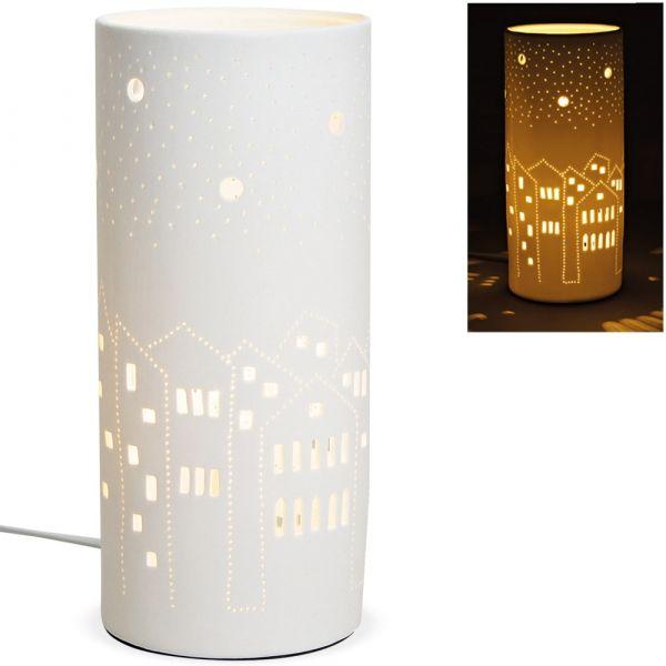 Tischlampe Nachttischlampe rund Häuser & Himmel 230 V Porzellan weiß 1 Stk 28 cm