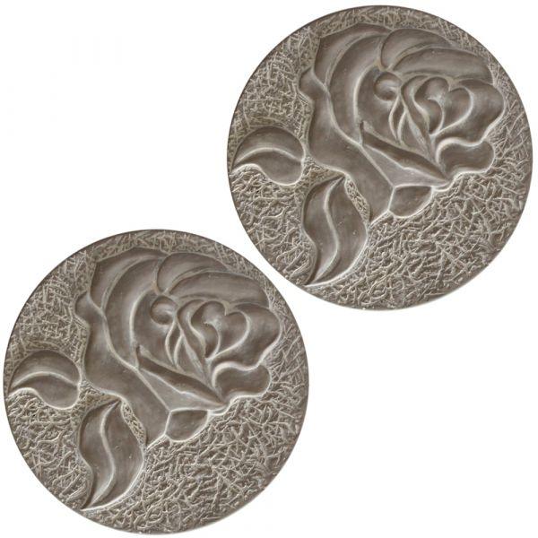 XXL Trittsteine Rosen Blüten Garten 1 Paar Tritt-Steine Beton Ø 28 cm *B-WARE*