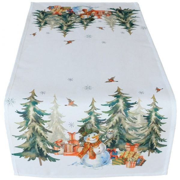 Tischläufer Tischwäsche Weihnachten Schneemann & Wald weiß Druck bunt 40x85 cm