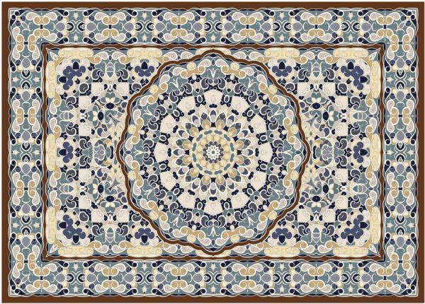Fußmatte Fußabstreifer DECOR Perser Ornamente blau braun beige waschbar 50x70 cm