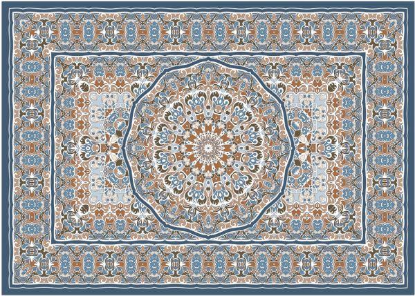 Fußmatte Fußabstreifer DECOR Ornamente Perser blau orange bunt waschbar 50x70 cm