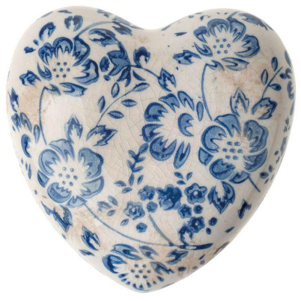Herz Keramik Deko Vintage Ornamente Schnörkel & Risseffekt 1 Stk blau - 10,5x4 cm