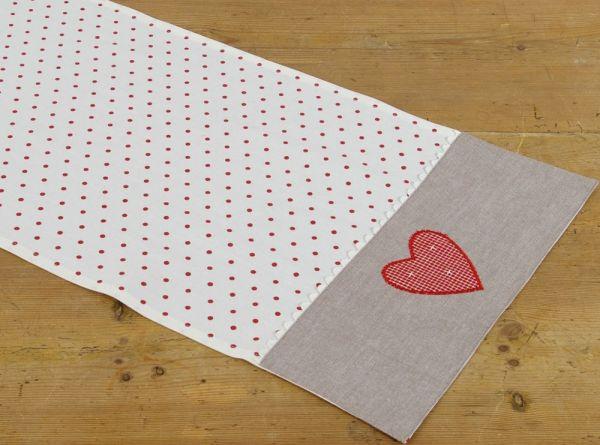Tischläufer Landhaus Premium ROSI weiß rot gepunktet 40x100 cm