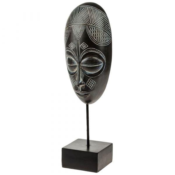 Deko Maske Afrika mit Muster im Ethnostyle auf Sockel Figur Poly schwarz 9,5x39 cm