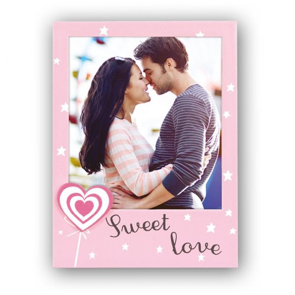 Bilderrahmen Porträtrahmen Rahmen Holz rosa Sterne Herz & Sweet Love Aufschrift