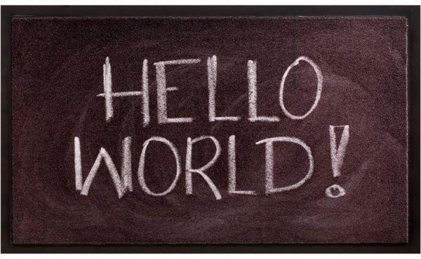 Fußmatte Fußabstreifer Decor & Rand Hello World Kreideschrift waschbar - 45x75 cm